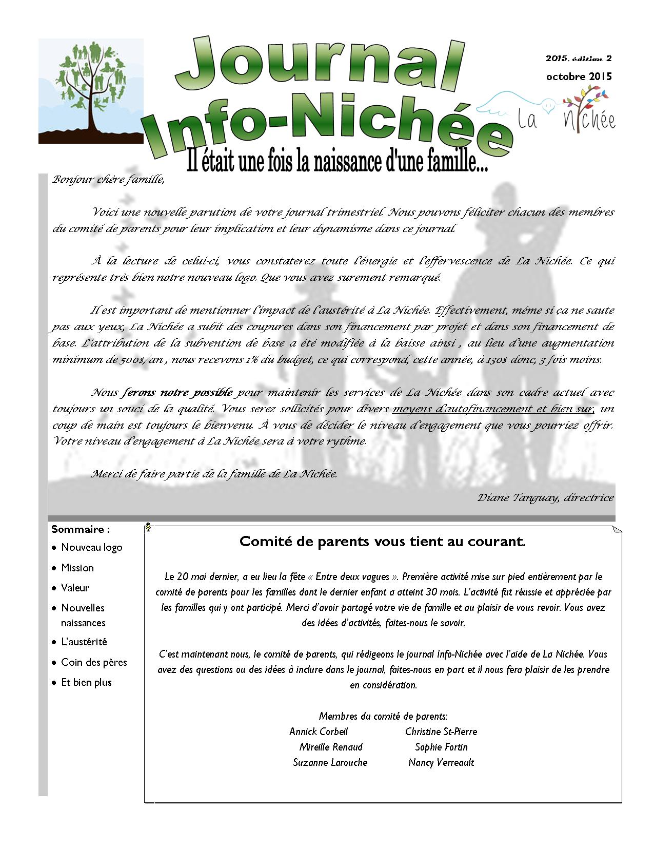 Info-Nichée été-automne 2015 p.1